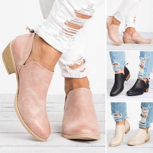 Kadınlar Yüksek topuklu ayakkabı Sivri Burun Casual Bayan Moda Ayakkabı Kadınlar Hot Satış-Yeni Sonbahar Kadınlar Boots Kadın Kare Topuk Kayma