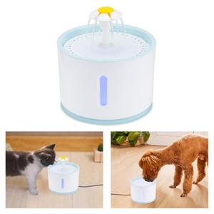 USB Dog Pet Fountain água Elétrico Água Bacia Auto Cycle com filtro 2.4L Fountain Cat Bomba para Gatos Cães Aves com LED