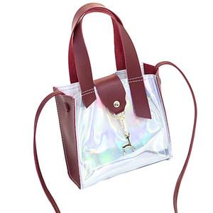Pu Tote Bag Малый кошельки и сумки Радуга Мини Transparent плеча Crossbody сумки для женщин Wine Red