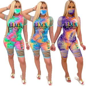 Black Girl Magic Print Women's Outfits Tie-dye Broken Hole Design Short Sleeve T shirt Tops Shorts Set Trendy Luxury Tracksuit D6805