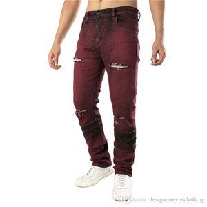 Agujeros roja directa de diseño delgado para hombre Stretch Jeans de moda para hombre Pantalones largos Ropa Hombre