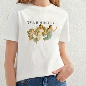 Pudo-xsx أخبره بوي وداعا الملاك مطبوعة تي شيرت المرأة أزياء شخصية المحملات الفتيات الملاك لطيف المحملة القمم Y19072701
