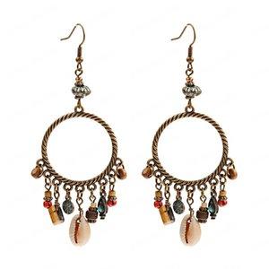 Ethnic Boho Round Alloy Summer Earrings Charm Shell Wood Pendants Tassel Dangle Earrings Fashion Jewelry Brincos