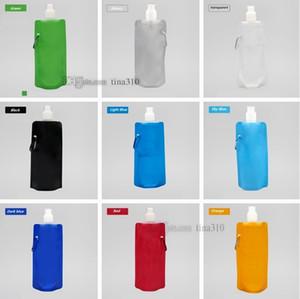 Newest 480ml foldable water bottle Portable folding sports water bottle Drinkware Water Bag 1000pcs lot I195