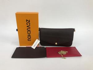 3 cores bolsa saco de cartão de senhoras bolsa de couro de flor PVC clássico carteira de três peças de moda bolsas cadeia mulheres bolsa com caixa