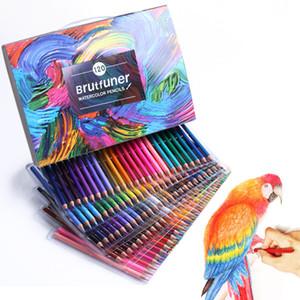48/72/120/150/180 Couleurs solubilité dans l'eau Artiste Crayons de couleur Set pour dessin Sketch coloriage Livres école d'art Supplie