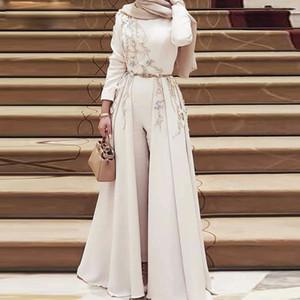 Винтажный мусульманский комбинезон Вечерние платья с отстегивающимся шлейфом и бисером Галстук-бабочка Пояса Abric Dubai Вечернее платье до щиколотки
