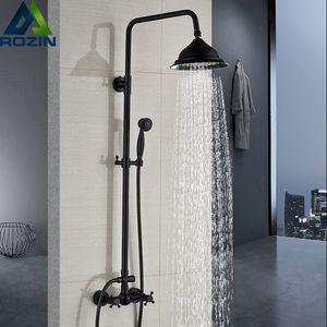 Banyo Yağmur Duş Mikser Musluk Çift Saplı Pirinç Siyah Duş Seti Musluk Duvar Dağı Yağmur Duş Bataryası dokunun Batarya