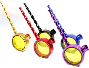 New Magnifying Glass Tobacco Pipes Smoking Metal Water Pipes For Dry Herb Cigarette Hitter Smoking Holder