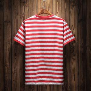 Sommer-Hot Brand Jeans USA Mens gestreifte T-Shirts Sommer-Art- und Stickerei Designer-T-Shirts Kurzarm Tops Bekleidung
