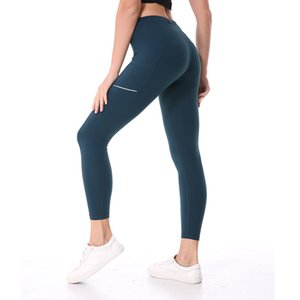 afk_lu016 yoga leggings high waist pocket Reflective strip nine legging gym clothes women training running leggings joga pants