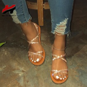 NAN JIU MOUNTAIN 2020 Mulheres Plano Sandals Summer Beach Sandals Handmade Rhinestone Abra Toe Roma Chinelos Além disso apreende 38-42
