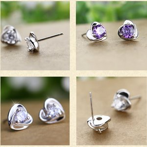 Korean version of temperament female ear nails South Korea, lovely original heart-shaped silver-plated earrings jewelry