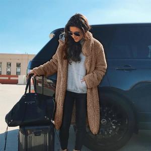 Moda feminina inverno lapela pescoço Pockets Grosso Quente Coats pele do falso sólido temperamento longo Plush Coats Vestuário Feminino