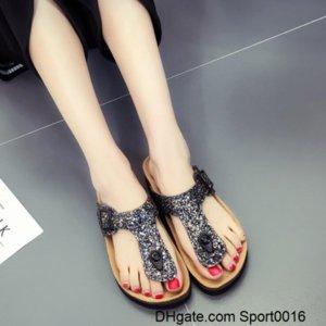 bokon 2020 Women s Summer Flat Sequin Bling Slippers Flat Ladies slippers Beach Pinch Flip Flops Outdoor Non-slip Cork Girl Sandals Y7NF