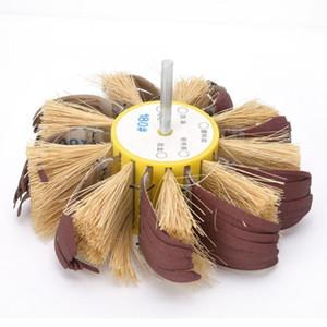 Polissage Sisal Buffing roue manuelle perceuse électrique Sisal Emery Tissu roue de polissage 6 mm arbre monté Broyage