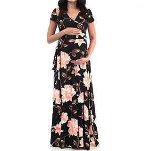 Été enceinte robe de maternité maman femmes col V à manches courtes Robes Avslappnad Vacances Vêtements