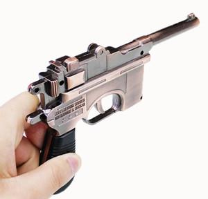 0.8: 1 Pistolet En forme de briquet cigarette mauser modèle forme couleur cuivre Métal Coupe-vent Butane rechargeable gaz modèle d'affichage 18cm