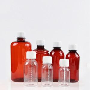50/60/100/150/200 ml Vaciar claro de color ámbar botella de plástico líquido pequeñas botellas de muestra de medición F1855 escala