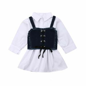 Bebés Meninas vestir 2,019 infantil Crianças manga comprida Sling shirt Denim Vestido camisa de botão branca topo Suspender Denim saia 2 peças set