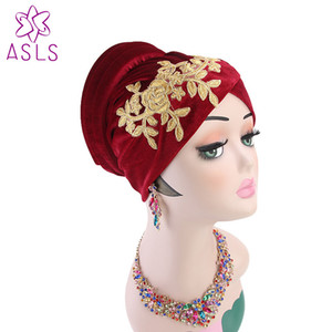 New Luxury Musulmano ricamo fiore Velvet Soft Turban Cap femminile Hijab Chemo Hat Beanie Stretch turbante fascia
