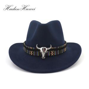 Large bord Ouest Cowboy Jazz Chapeau Chapeau Hommes Femmes Feutre De Laine Fedora Chapeaux Ruban En Métal Bullhead Décoré Noir Panama Cap Y19052004