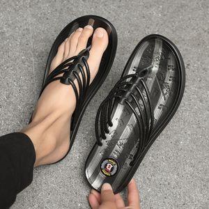 Cowskin stilista infradito mens esterna Flip mocassini viaggiatore flop antiscivolo pantofole turistiche di pattern a strisce Z87