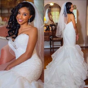 Plus Size Arabic Dubai Wedding Dresses Bridal Gowns Tiered Skirts Mermaid Vestido De Novia Lace Beads Bridal Dress Robe De Mariee