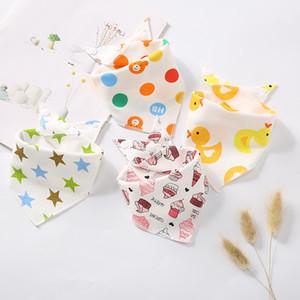 Joli bébé Bavoirs triangle Bande Dessinée Double Coton Triangle Spit Towel Infant Snap-Fastener Bibs Imprimé floral imprimé Bavoir GGA2450