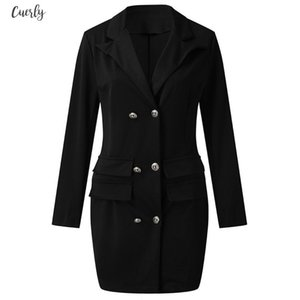 Sexy Double Breasted Gold Summer Button Front Black Military Style Women Long Sleeve Dress Female High Street Elegant Shirt Sukienka G3