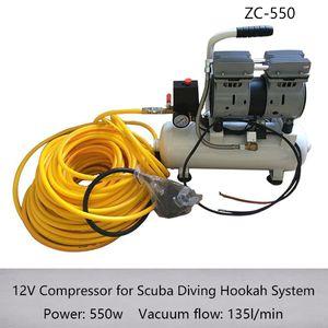 ZC550 Nova Chegada 12 V 550 w Compressor para Sistema de Cachimbo de Mergulho Com 30 m Tubo E Respirador de Silicone