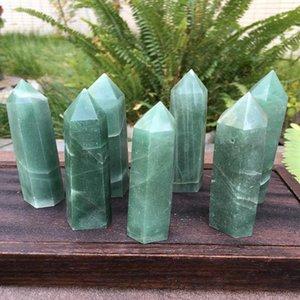 Природный кристалл авантюрин кварца точки Healing Stone шестиугольная призма 60-100mm Обелиск Wand Лечение камень Домашнее украшение