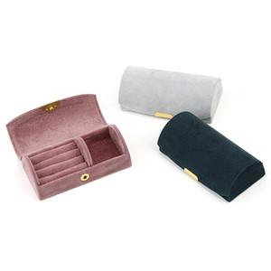 Nouveau Boîtes à bijoux Flanelle Voyage Voyage anneau de stockage Sac multifonctions de bijoux rose gris bleu Boîte à bijoux