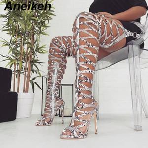 Aneikeh 2019 Moda Serpentine donna delle pompe a metà coscia Over-the-ginocchio del tacco Hollow di stile di Roma gladiatore stivali da equitazione Shoes