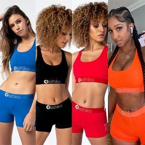 2020 Mulheres de Verão Swimsuit carta de impressão Bikini Swimwear Vest Tanque Bra + calções 2 Piece Swimming Set Ladies Top Curto praia Outfit D42403
