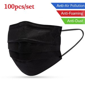 100Pcs Mouth Mask Disposable Black Cotton Mouth Face Masks Non-Woven Mask Anti-Dust Mask 3 Filter Activated Anti Pollution