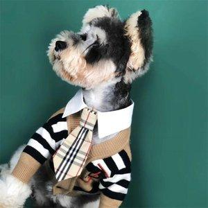 Son Harf Nakış Evcil Kazak Moda Çizgili Tasarımcı Pet Ceketler Bahar Kişilik Trendy Teddy Coats Giyim