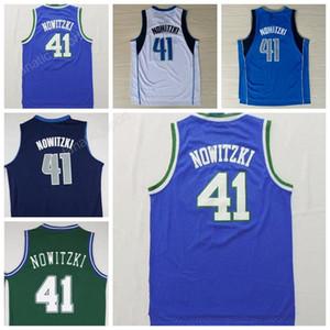 Envío gratuito 41 Dirk Nowitzki Jersey aficionados Hombres Para deportivas Nowitzki jerseys del baloncesto barato de la vuelta de la Marina Azul Blanco bordado y costura