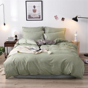 Green Grid letto di cotone morbido di Natale di cotone Duvet Quilt Cover Bedding Set federa Inverno Re Queen Size