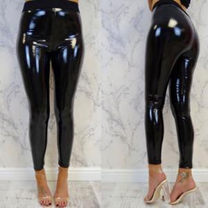 Femmes Leggings Look humide PU Leggings en cuir Noir Slim Pantalons longs Femmes Sexy Skinny Leggings
