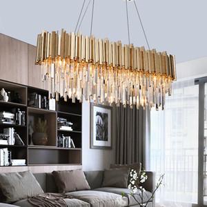 Rettangolo moderno lampadario di cristallo di lusso sala da pranzo LED in camera apparecchio di illuminazione Grande Cucina Lustre Cristal