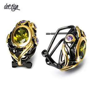 Deczign CZ Stud Pendientes para las mujeres Olivine Purple Gold Color gótico Negro Joyería de la boda Mulheres Brincos Pendientes E023