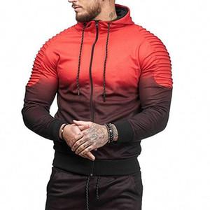 Hiphop Tracksuits beiläufige Sport-Tops Gestreifte Folds 3D Printing Gradient Male Hoodie For Sale Herrenmode Frühling