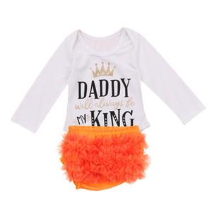 Nouveau-né Lovely Girls bébé vêtements d'été en coton Sets manches longues Lettre d'impression barboteuses + Jupes plissées mignon Mesh 2PCS