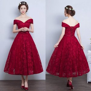 Cheap Tea Length Prom Dresses Burgundy Lace A Line Evening Party Gowns Off the Shoulder Short Custom Made Prom Dress