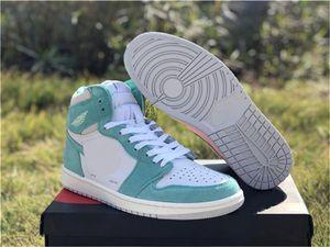 En Yeni 2019 Release Hava Yüksek OG 1 Retro Turbo Yeşil Adam Basketbol Ayakkabı Beyaz Açık Gri Yelken 555088-311 Açık Sneakers ile Kutusu Duman