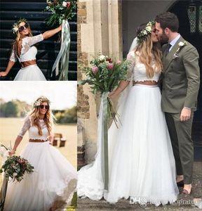 2020 Deux pièces Pays mariée A Jewel ligne 1/2 manches balayage train Robes de mariée en dentelle Tulle Plus Size Robes de mariée