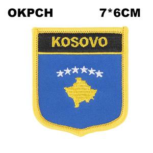 KOSOVO Flag Ricamo Ferro su Patch Ricamo Patch Badge per Abbigliamento PT0243-S