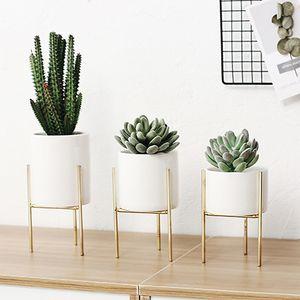 Giardino della casa nordica Ferro ceramica Vasi d'arte semplice tavolo Vaso in ceramica telaio Coffee Home Garden Room Vaso di fiori Decoration