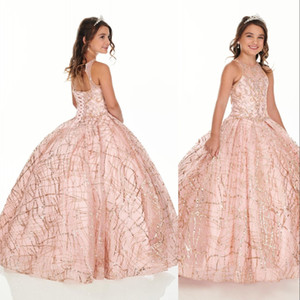 Sparkly Rose d'or Paillettes fleur filles Robes pour le mariage de fête d'anniversaire Keyhole Retour en cristal rose perlé robe de première communion avec la veste